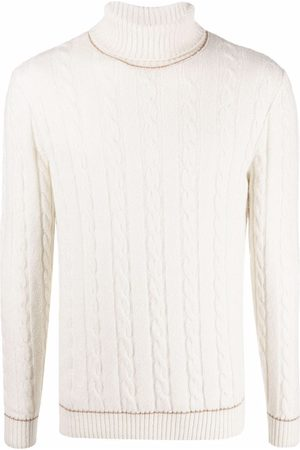 Eleventy Cable-knit roll neck jumper