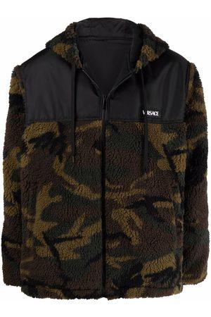 VERSACE Camouflage fleece hooded jacket
