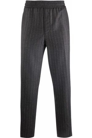 Salvatore Ferragamo Pinstripe straight-leg wool trousers - Grey