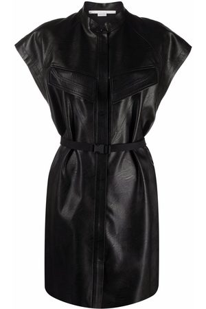 Stella McCartney Lexie belted faux-leather dress