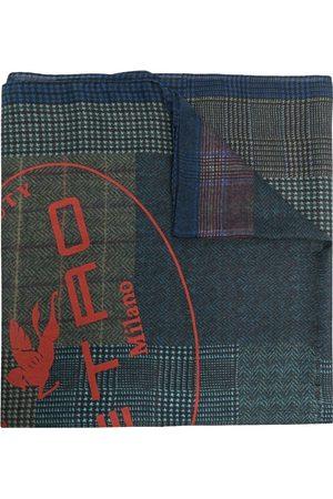 Etro Men Scarves - Check pattern logo-print scarf