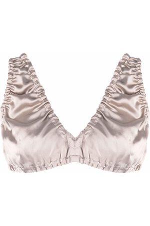 12 STOREEZ Gathered silk bra top - Neutrals