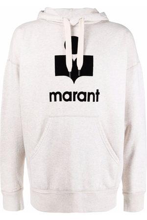 Isabel Marant Miley flocked-logo hoodie - Neutrals