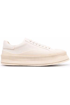 Jil Sander Ridged-sole leather sneakers - Neutrals