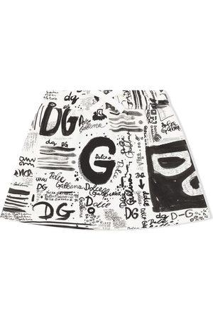 Dolce & Gabbana Girls Printed Skirts - Logo-print mini skirt