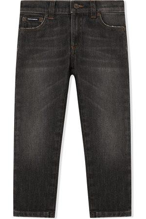 Dolce & Gabbana Kids Logo-patch straight-leg jeans - Grey