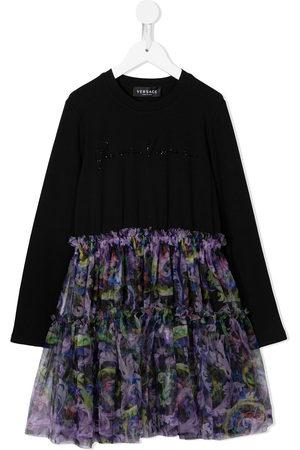 VERSACE Floral tulle-skirt dress