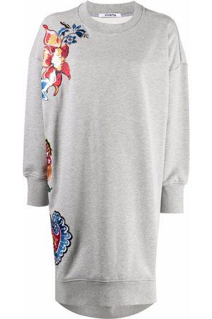 VIVETTA Floral-embroidered sweatshirt dress - Grey