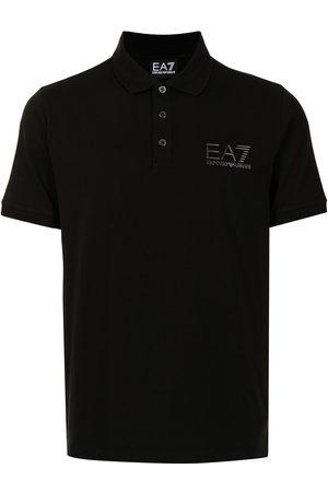 EA7 Embossed-logo cotton polo shirt