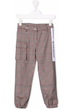 Givenchy Kids Logo-stripe houndstooth trousers - Neutrals