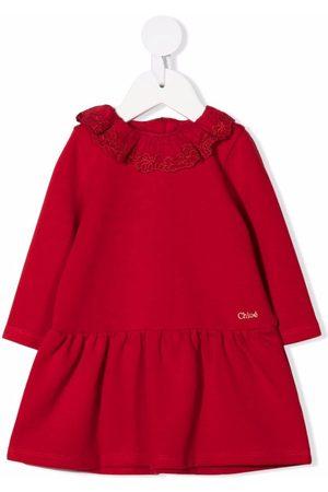 Chloé Kids Embroidered-ruffle collar smock dress