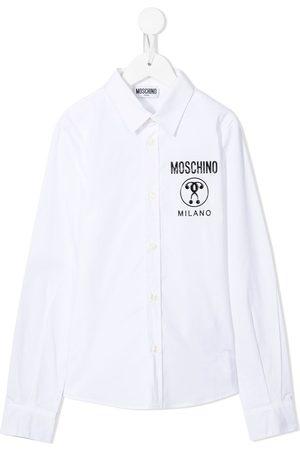 Moschino Embossed-logo cotton shirt