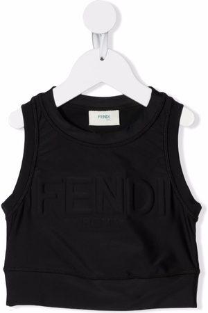 Fendi Girls Tops - Cropped logo-lettering top
