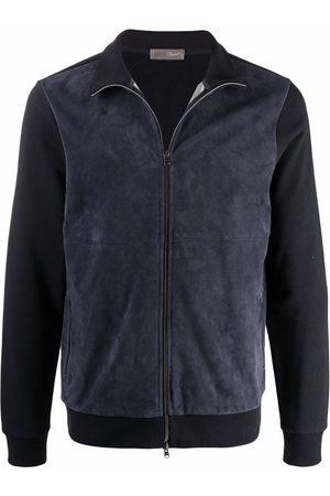 HERNO Panelled suede bomber jacket