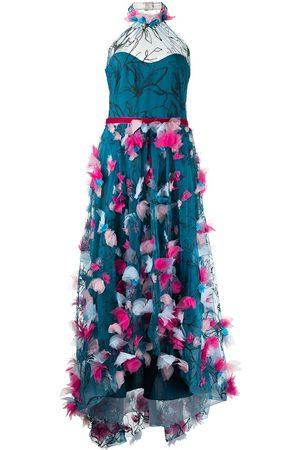 Marchesa Notte Floral-appliqué halterneck gown