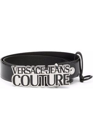 VERSACE Logo-plaque leather belt