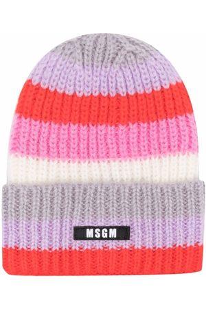 Msgm Stripe-knit beanie hat