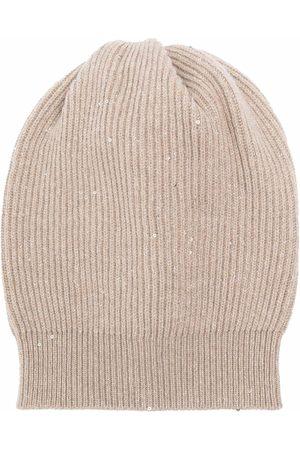 Brunello Cucinelli Sequin-embellished knitted beanie - Neutrals