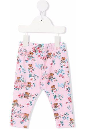 Moschino Kids Floral logo-print leggings