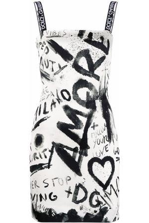 Dolce & Gabbana DG graffiti print charmeuse minidress