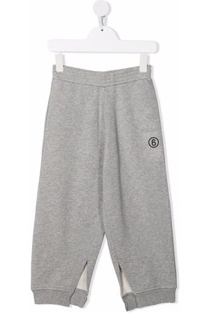 MM6 KIDS Number-print ankle-slit trousers - Grey
