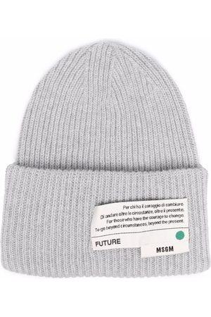 Msgm Logo-patch knitted beanie - Grey