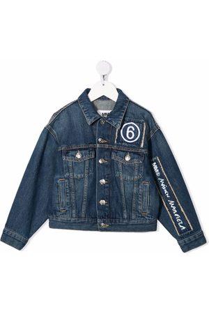 MM6 KIDS Logo-embroidered denim jacket