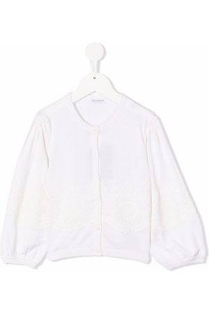 Dolce & Gabbana Kids Girls Cardigans - Long-sleeved lace-embroidered cardigan