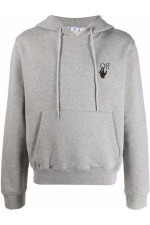 Off-White Arrows-print logo drawstring hoodie - Grey