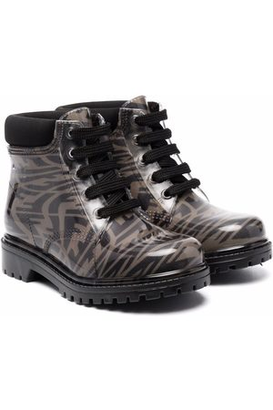 Fendi Kids Logo-print lace-up boots