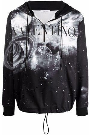 VALENTINO Space print half-zip hoodie