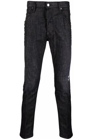Dsquared2 Leather-patch slim-fit jeans