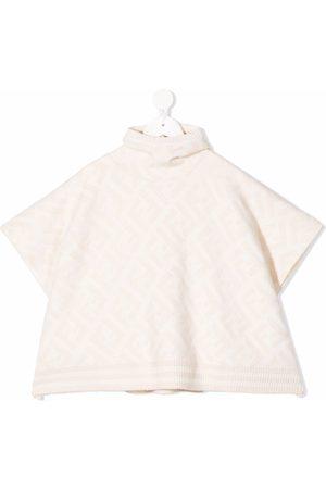 Fendi Kids FF logo hooded poncho - Neutrals