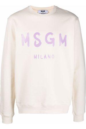 MSGM Logo-print crew neck jumper - Neutrals