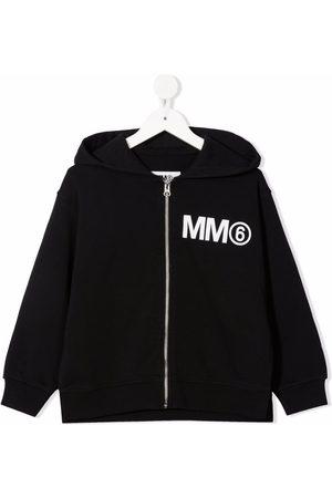 MM6 KIDS Chest logo-print hooded jacket