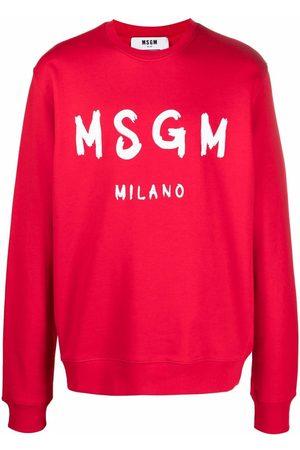 Msgm Men Sweatshirts - Logo-print crew neck sweatshirt