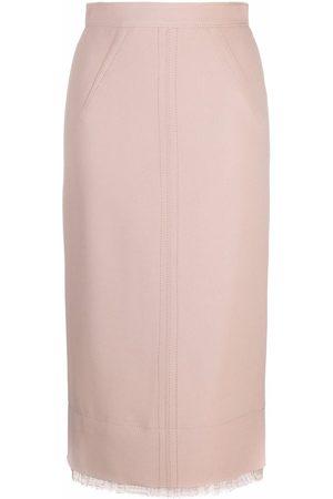Nº21 Lace trim pencil skirt - Neutrals