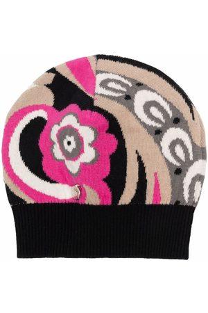 Emilio Pucci Junior Floral-print knitted beanie