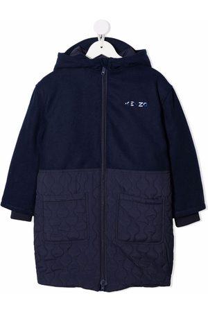 Kenzo Kids Embroidered logo panelled coat