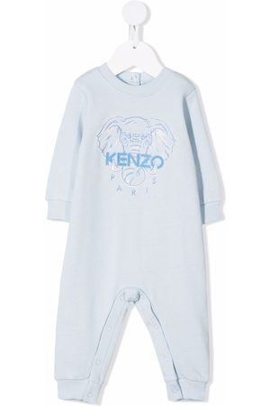 Kenzo Kids Elephant-print organic cotton romper