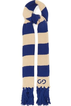 Gucci Men Scarves - GG-embroidered Striped Cotton Scarf - Mens - Multi
