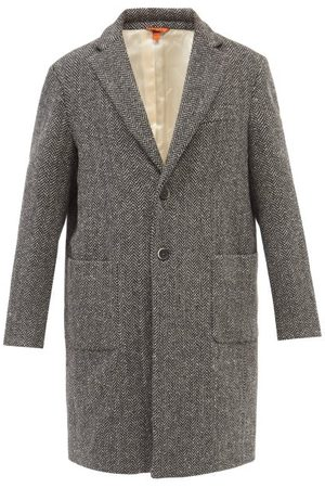 BARENA Baron Single-breasted Wool-blend Herringbone Coat - Mens - Grey