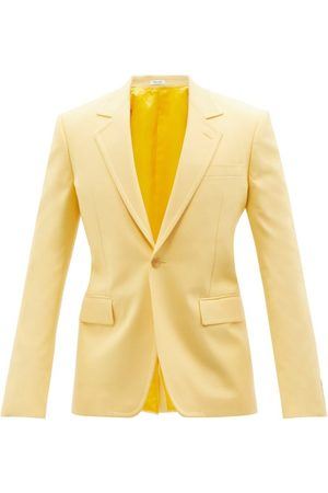 Alexander McQueen Single-breasted Panama-cotton Suit Jacket - Mens - Light