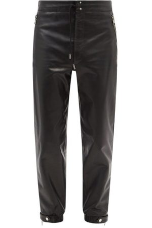 Alexander McQueen Men Sweatpants - Tapered Leather Trousers - Mens