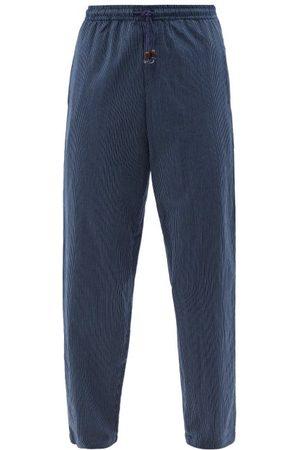 SMR Days Malibu Striped Cotton-jersey Straight-leg Trousers - Mens - Navy