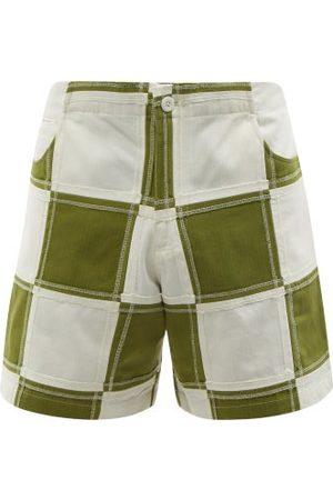 Smr Days Men Shorts - Vathi Patchwork Cotton Herringbone-twill Shorts - Mens