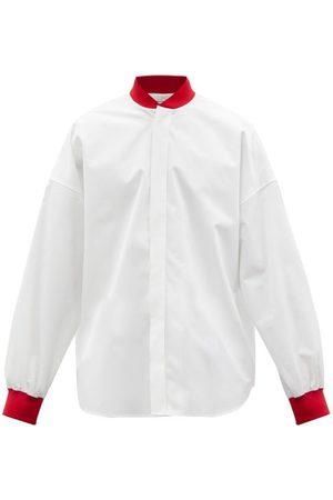 Alexander McQueen Jersey-trimmed Cotton-poplin Shirt - Mens
