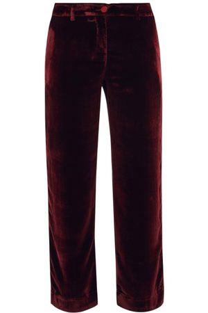 F.r.s For Restless Sleepers - Tartaro Cropped Velvet Trousers - Womens - Burgundy