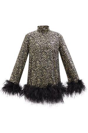 Taller Marmo Gina Feather-trimmed Silk-blend Mini Dress - Womens