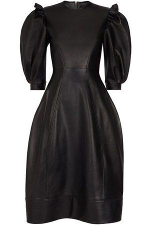 Simone Rocha Puff-sleeve Leather Midi Dress - Womens